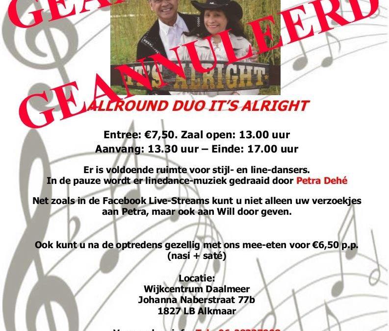 26 Sept Will's Memory Lane in Alkmaar Geannuleerd